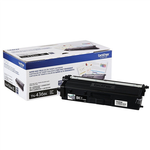 OEM Brother TN-436BK Black Super High Yield Toner Cartridge for HL-L8360, HL-L9310, MFC-L8900, MFC-L9570 [6,500 Pages]