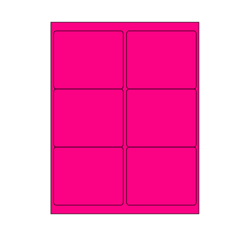"""Pink 6-Up Shipping Labels for Laser Printers 3-1/3"""" x 4"""", Pack of 100 sheets"""