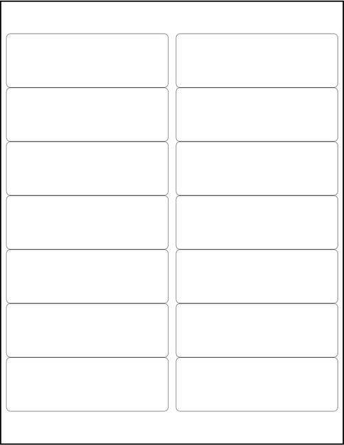 """White 14-Up Sheeted Labels for Laser Printers 4"""" x 1-1/3"""", Bulk Case of 14,000"""