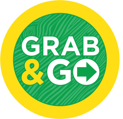 """Trending Grab & Go Icon Label. It is a 1"""" Circle and comes 1000 per roll. Attractive labelfor all your grab and go foods."""