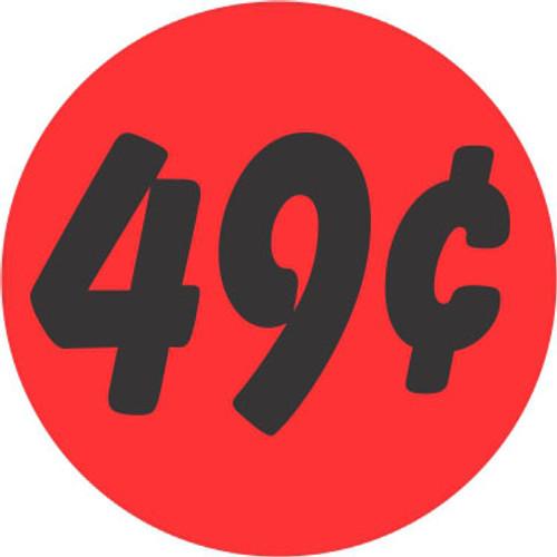 "1.25"" Circle - 1000 per roll. 49¢ Bullseye on fluorescent red."