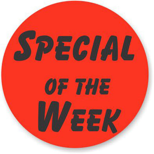 """1.25"""" Circle - 1000 per roll. Special of the week - Bullseye on fluorescent red."""