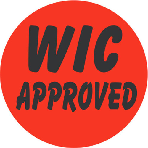 "1.5"" Circle - 1000 per roll. WIC Approved - Bullseye on fluorescent red."