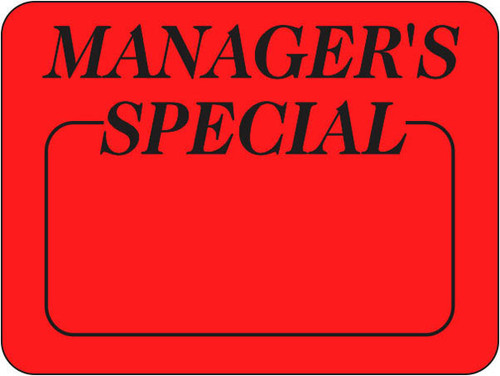 """1.5"""" x 2"""" - 1000 per roll. Manager's Special on fluorescent red."""