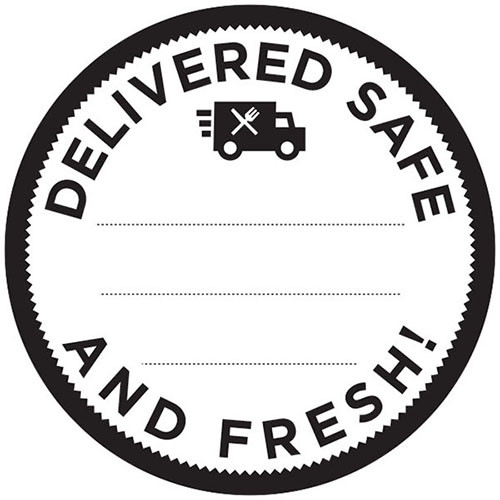 """3"""" Circle. 250 per roll. Delivered Safe and Fresh Label. Write in date and time of delivery."""