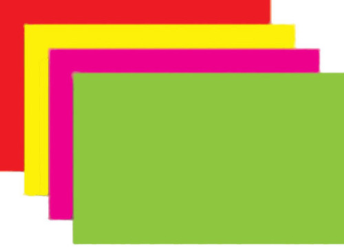 """7"""" x 11"""" - 100 per pack. Fluorescent rainbow packed with 25 each of four different colors."""