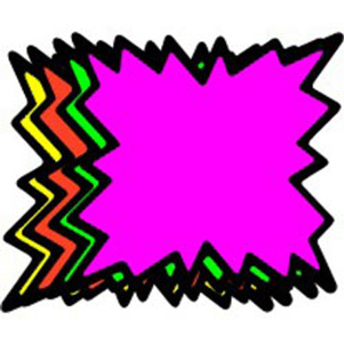 """5"""" Starburst - 100 per pack. Fluorescent rainbow packed with 25 each of four different colors. With black border."""