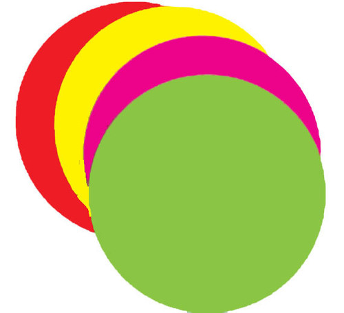 """5.25"""" Circle - 100 per pack. Fluorescent rainbow packed with 25 each of four different colors."""
