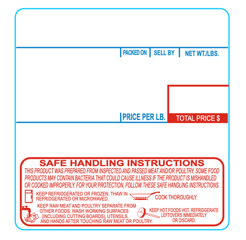 CAS 58mm x 60mm 8040 Label with Safe Handling Instructions | 2-Color | Packed On, Sell by, Net Wt, Price/Lb., Total Price, SHI | UPC/Safe Handling, 500 per roll, 12 rolls per case | for use in CAS scales: LP-1000/LP-II/CL5000/CL5500/CL7200