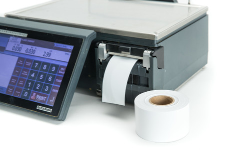 """58mm x 65m Linerless Direct Thermal Scale Labels Roll on a 1.6"""" core for use in Bizerba Scales 
