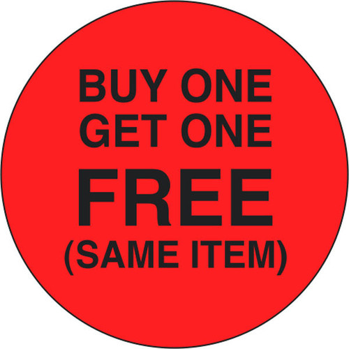 """1.5"""" Circle - 1000 per roll. Buy 1 Get 1 Free Same Item on fluorescent red."""