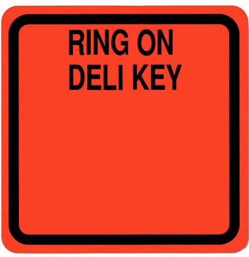 "2"" x 2"" - 500 per roll. Fluorescent red Ring on Deli key Label."