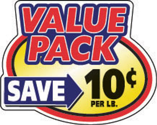 "2.4"" x 3"" - 500 per roll. Save 10¢ Per Lb - Value Pack Oval"
