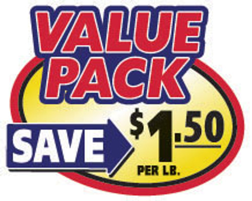 "2.4"" x 3"" - 500 per roll. Save $1.50 Lb - Value Pack Oval"
