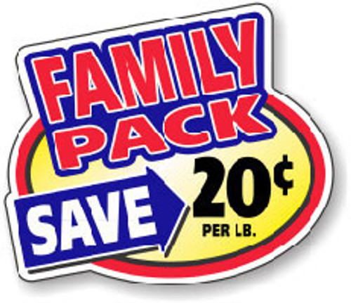 """2.4"""" x 3"""" - 500 per roll. Save 20¢ Lb - Family Pack Oval"""