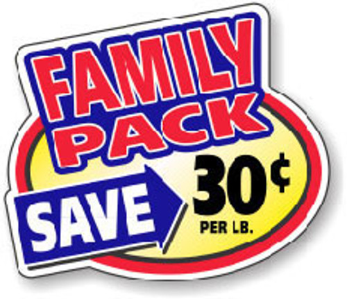 """2.4"""" x 3"""" - 500 per roll. Save 30¢ Lb - Family Pack Oval"""