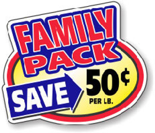 """2.4"""" x 3"""" - 500 per roll. Save 50¢ Lb - Family Pack Oval"""