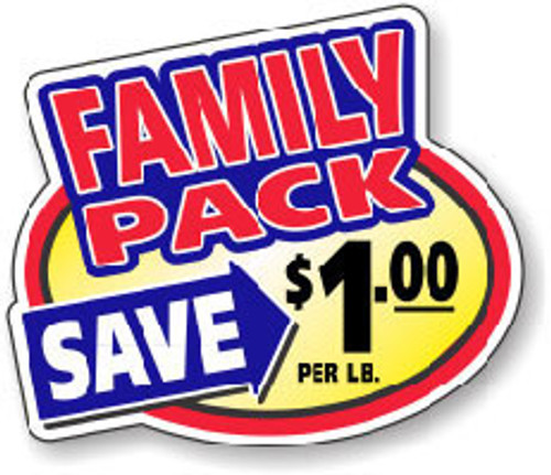 "2.4"" x 3"" - 500 per roll. Save $1.00 Lb - Family Pack Oval"