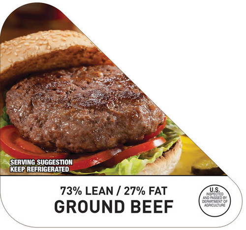 "3"" x 3.25"" - 500 per roll. Ground Beef 73% Lean/27% Fat Nutritional Grind Corner Label"