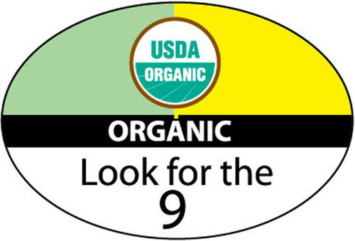 """USDA Organic Look for the 9 Food Grade Label That Measures .84"""" x 1.25"""" and comes 1000 per roll. Food grade adhesive. Perfect for organic bulk produce."""
