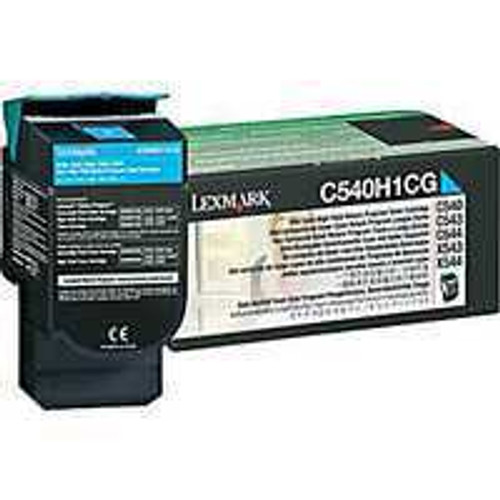 Genuine Lexmark C540H1CG Cyan High Yield Toner Cartridge for C540, C543, C544, C546, X543, X544, X548 [2,000 Pages]