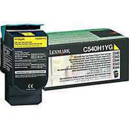 Genuine Lexmark C540H1YG Yellow High Yield Toner Cartridge for C540, C543, C544, C546, X543, X544, X548 [2,000 Pages]