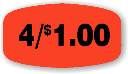 """4/$1.00 - No Minimum - .625"""" x 1.25"""" - 1000 per roll"""