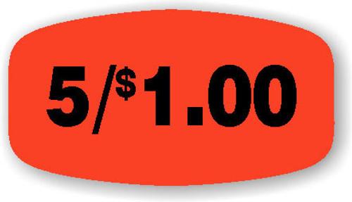 """5/$1.00 - No Minimum - .625"""" x 1.25"""" - 1000 per roll"""