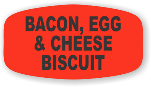 """Bacon, Egg & Cheese Biscuit - 10 Roll Minimum - .625"""" x 1.25"""" - 1000 per roll. If you are ordering 10 ROLL MINIMUM Short Ovals, your ENTIRE ORDER will be shipped in approximately 14 Business Days."""