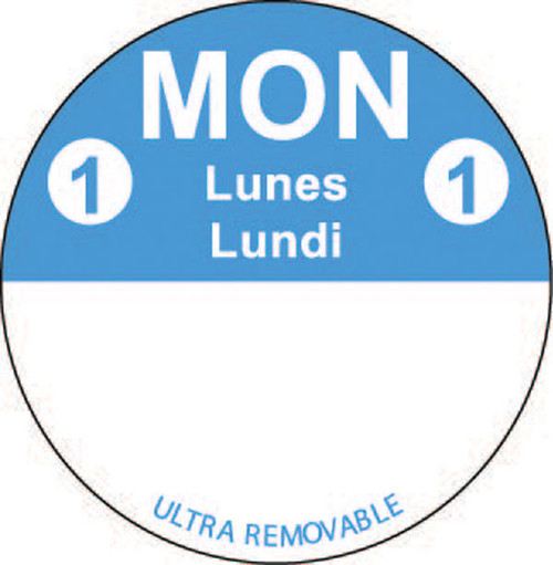 "1"" Circle - 1000 per roll. FreshDate® Mon Lunes - Lundi. Ultra Removable"