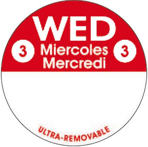"1"" Circle - 1000 per roll. FreshDate® Wed Miercoles - Mercredi. Ultra Removable"