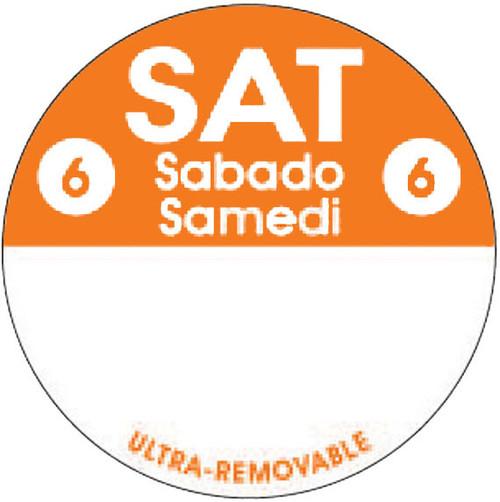 "1"" Circle - 1000 per roll. FreshDate® Sat Sabado - Samedi. Ultra Removable"