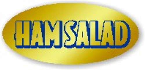 """.875"""" x 1.9"""" - 500 per roll. No Minimum Order. Ham Salad Gold Foil Title Label."""