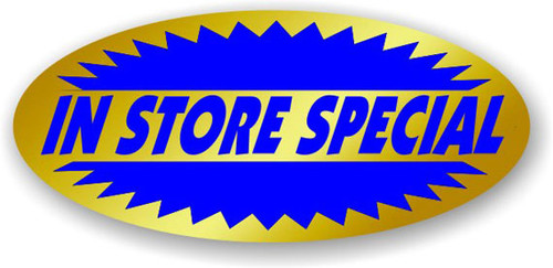 ".875"" x 1.9"" - 500 per roll. No Minimum Order. In Store Special Gold Foil Title Label."