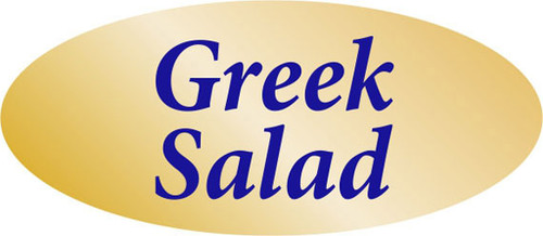 """.875"""" x 1.9"""" - 500 per roll. 10 ROLL MINIMUM Order. Greek Salad Gold Foil Title Label. If you are ordering 10 ROLL MINIMUM Gold Foils, your ENTIRE ORDER will be shipped in approximately 14 Business Days."""