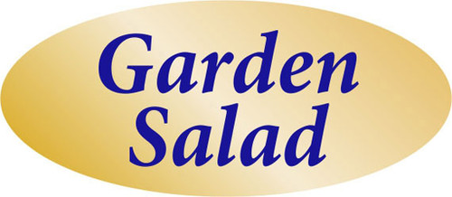""".875"""" x 1.9"""" - 500 per roll. 10 ROLL MINIMUM Order. Garden Salad Gold Foil Title Label. If you are ordering 10 ROLL MINIMUM Gold Foils, your ENTIRE ORDER will be shipped in approximately 14 Business Days."""