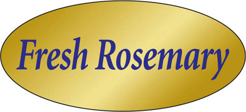 """.875"""" x 1.9"""" - 500 per roll. 10 ROLL MINIMUM Order. Fresh Rosemary Gold Foil Title Label. If you are ordering 10 ROLL MINIMUM Gold Foils, your ENTIRE ORDER will be shipped in approximately 14 Business Days."""