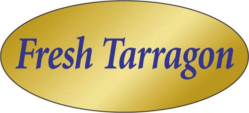""".875"""" x 1.9"""" - 500 per roll. 10 ROLL MINIMUM Order. Fresh Tarragon Gold Foil Title Label. If you are ordering 10 ROLL MINIMUM Gold Foils, your ENTIRE ORDER will be shipped in approximately 14 Business Days."""
