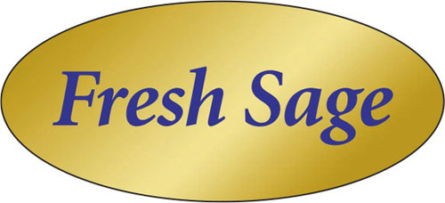 """.875"""" x 1.9"""" - 500 per roll. 10 ROLL MINIMUM Order. Fresh Sage Gold Foil Title Label. If you are ordering 10 ROLL MINIMUM Gold Foils, your ENTIRE ORDER will be shipped in approximately 14 Business Days."""