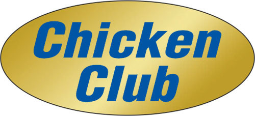 """.875"""" x 1.9"""" - 500 per roll. 10 ROLL MINIMUM Order. Chicken Club Gold Foil Title Label. If you are ordering 10 ROLL MINIMUM Gold Foils, your ENTIRE ORDER will be shipped in approximately 14 Business Days."""