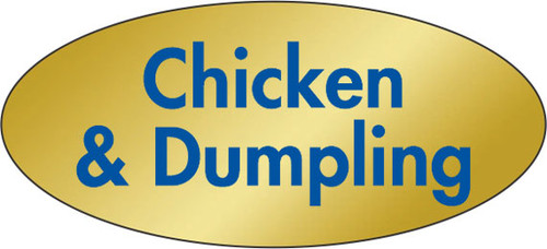 """.875"""" x 1.9"""" - 500 per roll. 10 ROLL MINIMUM Order. Chicken and Dumpling Gold Foil Title Label. If you are ordering 10 ROLL MINIMUM Gold Foils, your ENTIRE ORDER will be shipped in approximately 14 Business Days."""