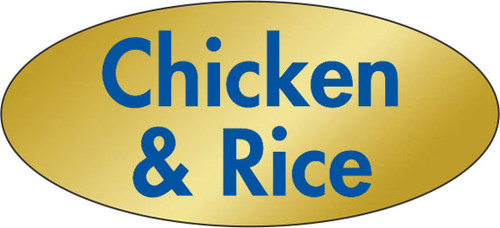 """.875"""" x 1.9"""" - 500 per roll. 10 ROLL MINIMUM Order. Chicken and Rice Gold Foil Title Label. If you are ordering 10 ROLL MINIMUM Gold Foils, your ENTIRE ORDER will be shipped in approximately 14 Business Days."""