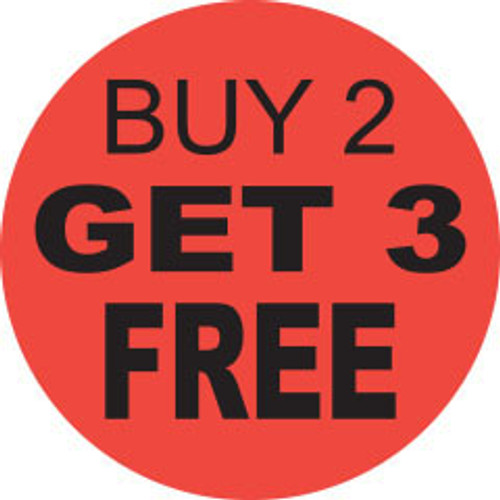 """1.25"""" 1000 per roll. Fluorescent Red Circle Label. Buy 2 Get 3 FREE"""