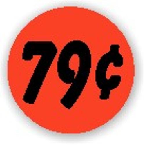 "1.25"" Circle - 1000 per roll. 79¢ - Bullseye on fluorescent red."