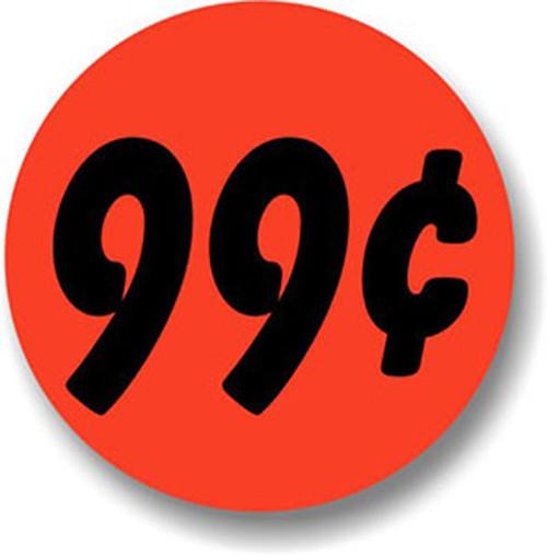 "1.25"" Circle - 1000 per roll. 99¢ - Bullseye on fluorescent red."
