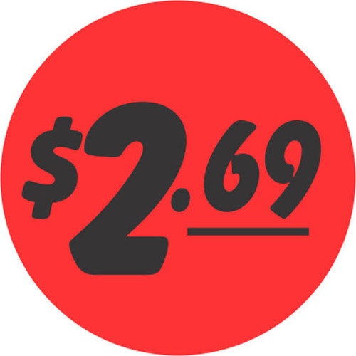 "1.25"" Circle - 1000 per roll. 2.69 - Bullseye on fluorescent red."