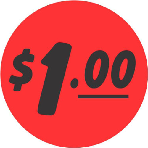 """$1.00 Bullseye on fluorescent red Label that is a 1.25"""" Circle and comes 1000 per roll."""