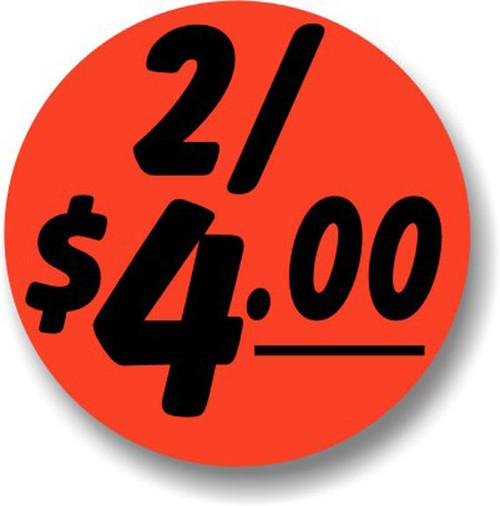 "1.25"" Circle - 1000 per roll. 2/$4.00 - Bullseye on fluorescent red."