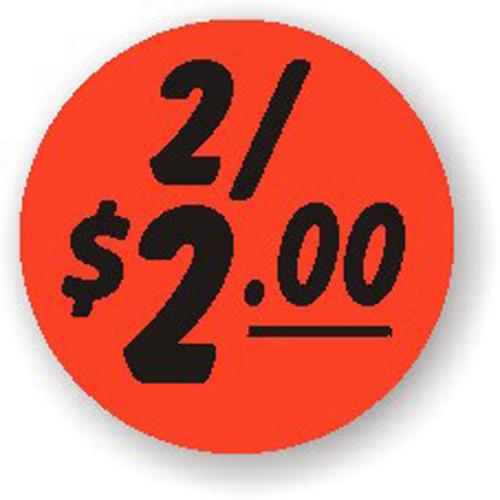 "1.25"" Circle - 1000 per roll. 2/$2.00 - Bullseye on fluorescent red."