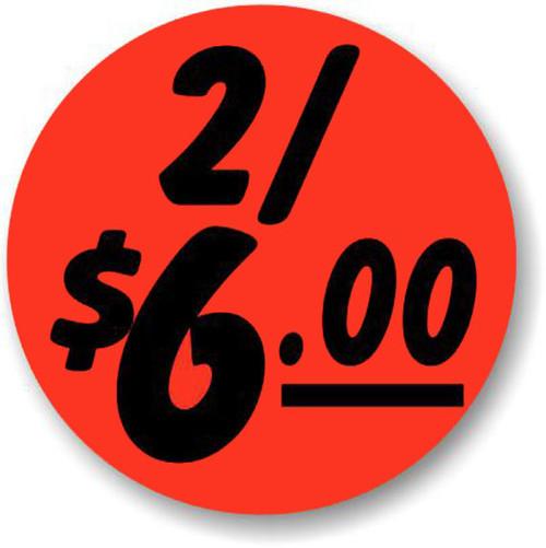"1.25"" Circle - 1000 per roll. 2/$6.00 - Bullseye on fluorescent red."